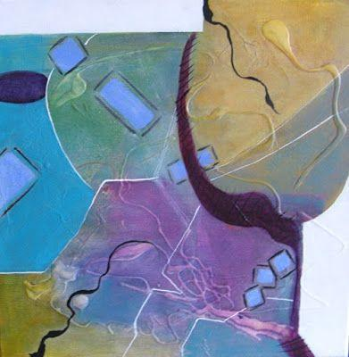"""Abstract Art, Expressionism, Contemporary Painting """"Funky I"""" by Contemporary Artist Maggie Demarco"""