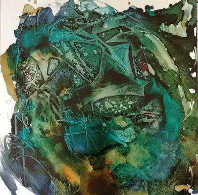 "Green Art, Mixed Media Painting, Contemporary Art, ""Botanical Swirl"