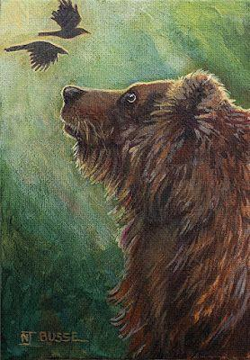 "Wildlife Art, Bear Fine Art Painting, Birds ""Spirit-Animals"" by Colorado Artist Nancee Jean Busse, Painter of the American West"