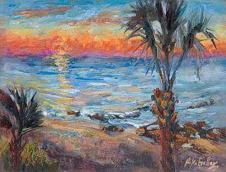 """""""Sun Up in Paradise"""" Palette Knife Seashore painting by Niki Gulley"""