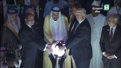 What is Donald Trump doing with his hands on a glowing orb?