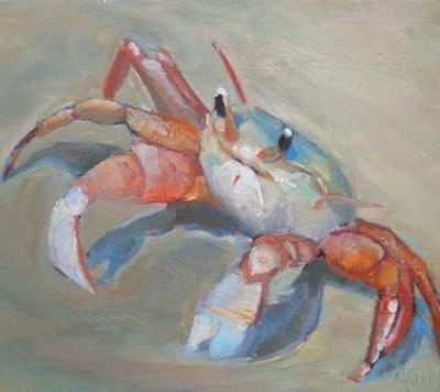"Beach House or Coastal Home Wall Decor, ""A Crabby Day"" Original Oil Painting, 9x12"" , Daily Painter, Small Oil Painting"