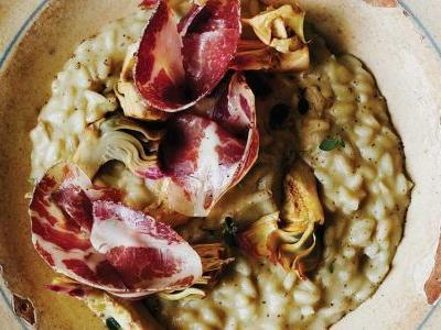Artichoke Risotto with Capocollo and Pecorino