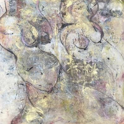 "Contemporary Abstract Expressionist Painting ""MOTHERING OUR REBIRTH"" by Abstract Artist Pamela Fowler Lordi"