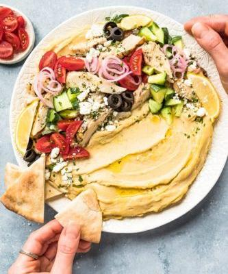 Loaded Hummus Bowls with Greek Chicken