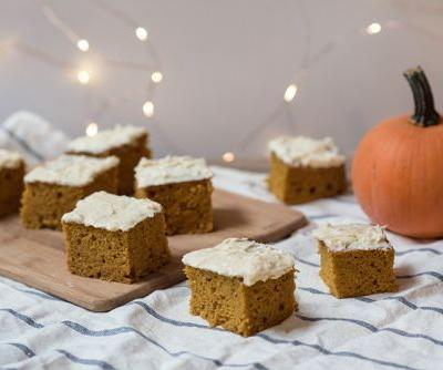 Olive Oil Pumpkin Bars with Maple Cream Cheese Frosting