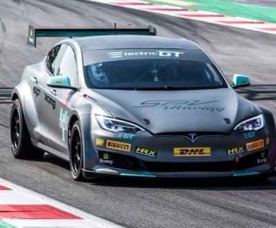 Tesla Model S Electric GT Race Car Looks At Home On Track