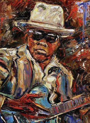 "Palette Knife Musician Art Portrait Oil Painting, ""Johnny Lee Hooker"" by Texas Artist Debra Hurd"