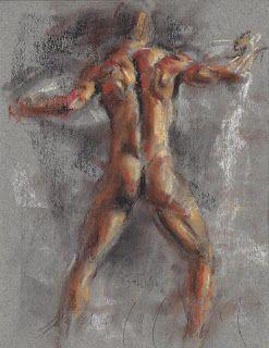 Standing male nude with a drapery