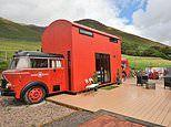 Vintage fire truck has been transformed into a quirky holiday rental complete with a fireman's pole
