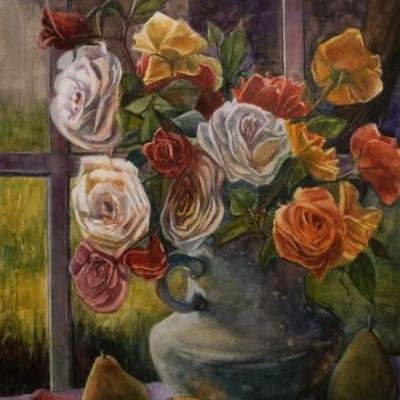 Watercolor Floral Still Life- Milk Pitcher Roses - and Finding Your Collectors