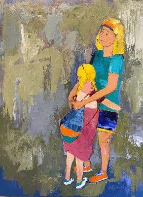"""Contemporary Expressionist Figurative Art Painting, Mother and Child """"Comforting Arms"""" by Oklahoma Artist Nancy Junkin"""