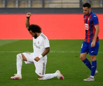 Marcelo takes the knee as Madrid return with win over Eibar