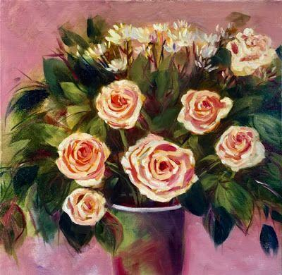 """Contemporary Expressionist Still Life, Bold Expressive Flower Art Painting """"SPRING ROSES"""" by Santa Fe Artist Annie O'Brien Gonzales"""