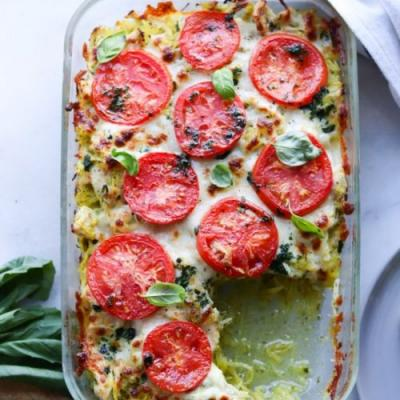 Pesto Chicken Spaghetti Squash Bake
