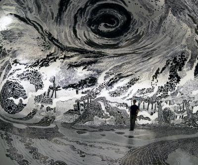 New 360-Degree Immersive Drawing Created With 120 Marker Pens by Oscar Oiwa