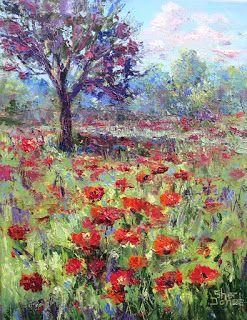 Poppy Patch, New Contemporary Landscape Painting by Sheri Jones