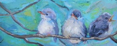 Bird Painting,Bird Lover's Gift, Home Wall Decor, Baby Birds on Branch Artwork, Small Oil Painting, Daily Painting, 6x18x1.5