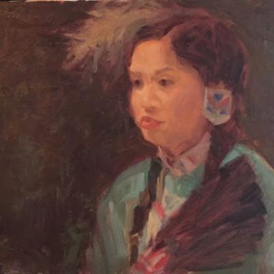 Harjo oil portrait by Margaret Aycock