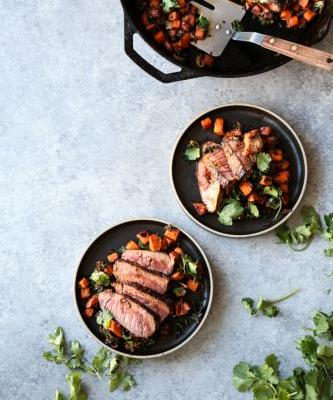 Chili-Rubbed Cast Iron Skillet Steak with Sweet Potato-Kale Hash