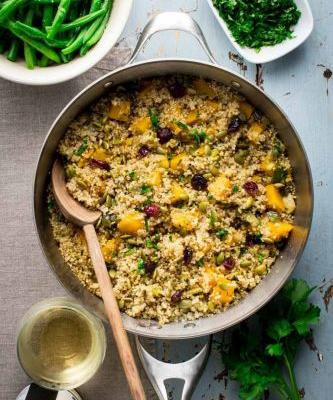 Vegetarian thanksgiving pilaf with pumpkin and quinoa