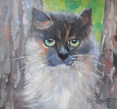Cat Painting, Animal Portrait, Small Oil Painting, Daily Painting, 6x6 Original Oil