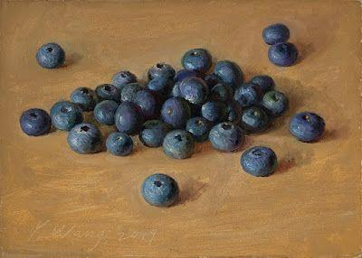 Blueberries painting original small daily paintwork a painting a day
