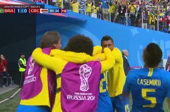 Coutinho scores a stoppage-time goal for Brazil