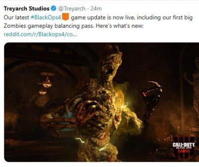 Treyarch releases third Call of Duty Black Ops 4 update since launch