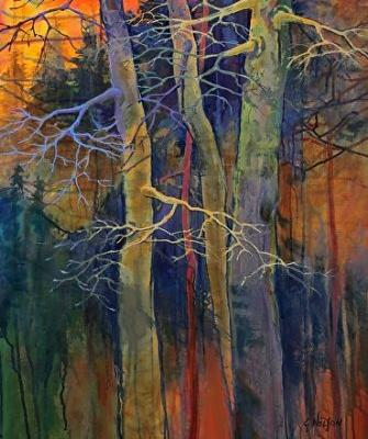 """Acrylic Abstract Tree Painting, Contemporary Landscape, """"Twilight Dance"""" by Carol Nelson Fine Art"""