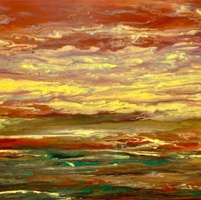 """Abstract Landscape, Sunset Art Painting """"BLAZING SKY REFLECTIONS """" by International Contemporary Artist Kimberly Conrad"""