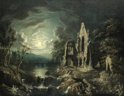 Attributed to Sebastian Pether, Moonlit river landscape with a ruined priory