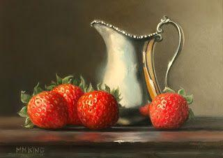 Strawberries with Silver Creamer- SOLD