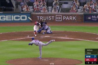 Jacob DeGrom strikes out his ninth Braves hitter to send the game into the bottom of the fifth