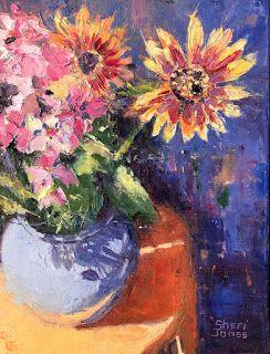 Contemporary Impressionistic Floral Impressionistic Palette Knife Original Oil Painting by Sheri Jones