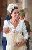 Kate Middleton Wore White to Prince Louis's Christening, and We Could Have Mistaken Her For a Blushing Bride