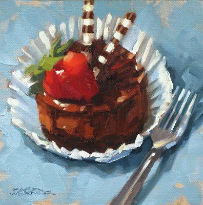Chocolate Cheesecake -a still life painting in oil