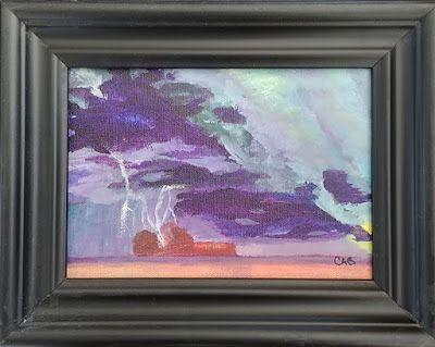 "Contemporary Landscape Art Painting, Stormy Sky, ""Storm on the Prairie"" by Arizona Abstract Artist Cynthia A. Berg"