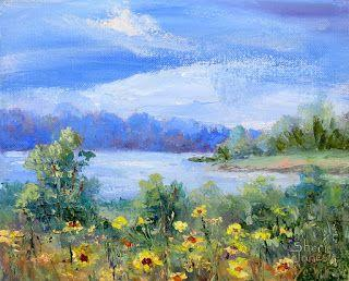 Sunny Flowers, Contemporary Landscape Painting by Sheri Jones