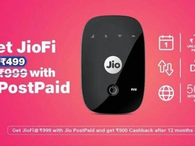 Reliance JioFi available at an effective price of Rs. 499 for postpaid users