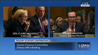 Mnuchin dumbfounded by questions about ethics of Trump holdings