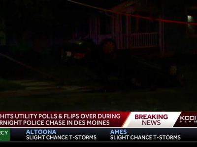 Chase ends when stolen vehicle shears off utility poles, flips
