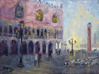 """New """"Sunrise in St. Mark's Square"""" Oil Painting by Contemporary Impressionist Niki Gulley"""