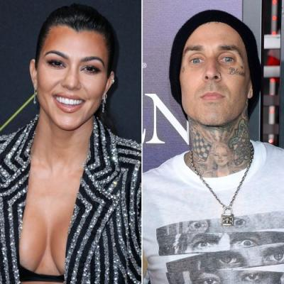 Kourtney Kardashian Visits the Studio With Boyfriend Travis Barker and It's Too Cute