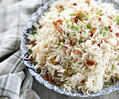 Bacon Garlic Rice {Instant Pot and Stove Top Instructions}