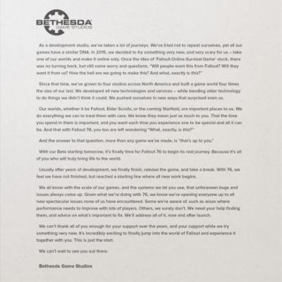 Bethesda Game Studios pens letter to fans setting B.E.T.A. expectations