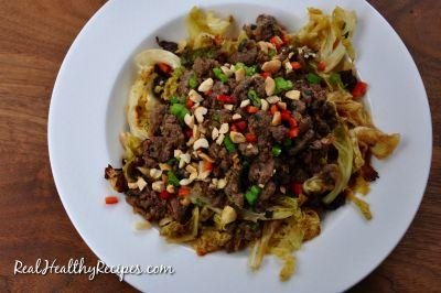 Spicy Lamb Larb With Thai Roasted Cabbage