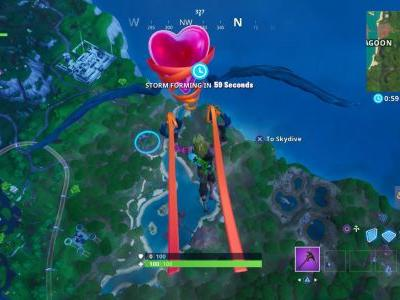 Fortnite: Fortbyte 70 Location - Accessible by skydiving through rings above Lazy Lagoon with the Vibrant Contrails equipped