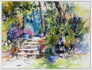 Garden Tranquility, France..Watercolor..Texas Artist..Rae Andrews