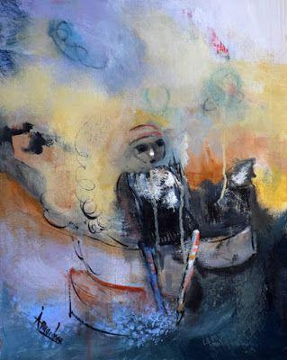 """Contemporary Abstract Expressionist Painting, Abstract Figure """"Tea Time Parodox"""